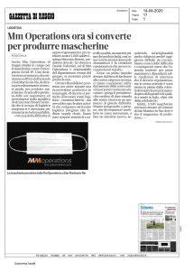 Ritaglio di giornale MM Operations si converte per produrre mascherine