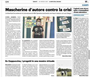 Ritaglio di giornale Mascherine d'autore contro la crisi